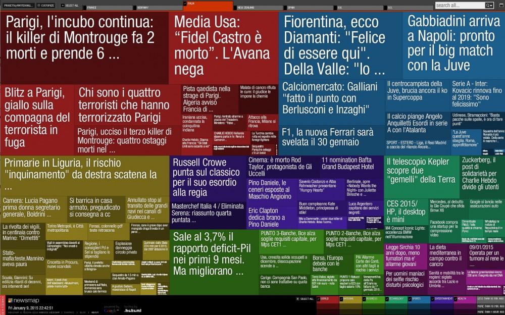Newsmap è un tool che permette di visualizzare le notizie più importanti in tempo reale