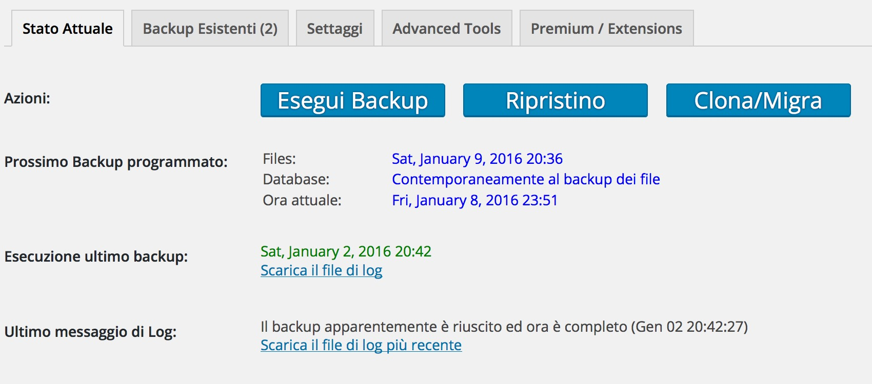 Plugin fondamentali: Updraft Backup per WordPress