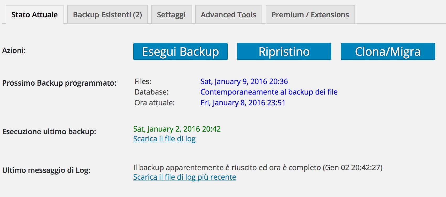 Plugin fondamentali: Updraft Backup per WordPress