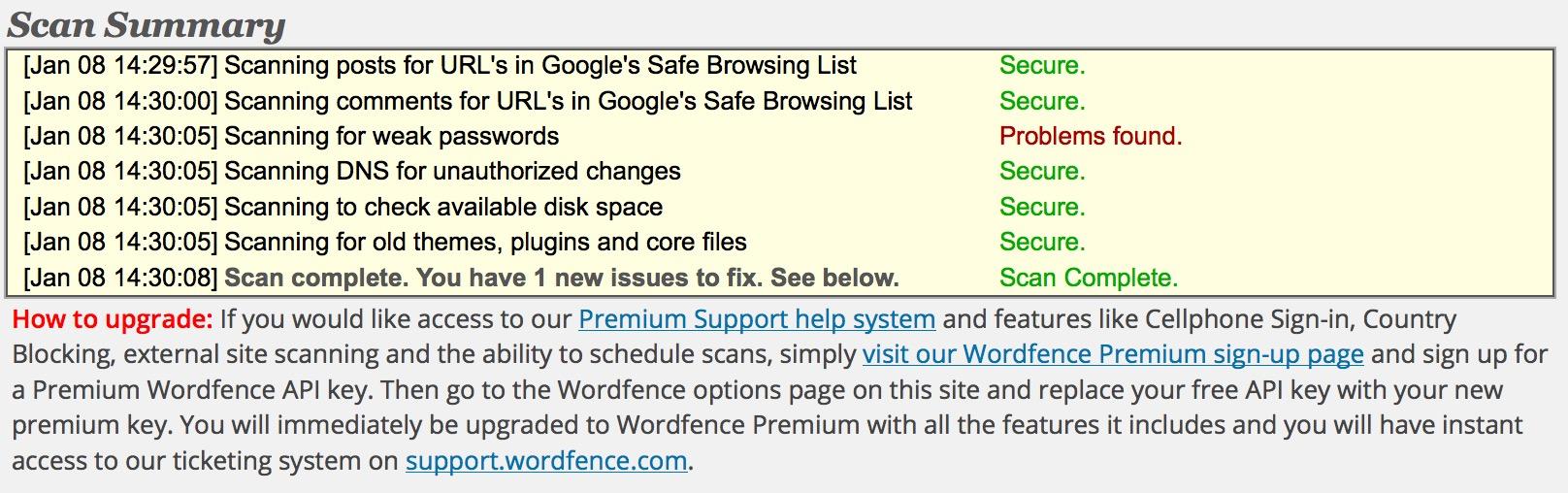 Plugin fondamentali: Wordfence Scan