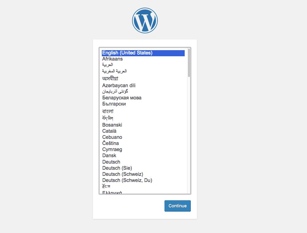 Wordpress - Prima pagina di installazione